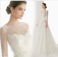 2014 new spring and winter lace sleeve dress/ chiffon slit neckline wedding dress/