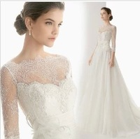 2014 new spring and winter lace sleeve dress/ chiffon slit neckline wedding dress/