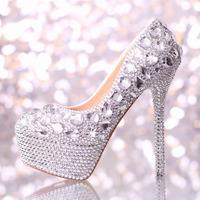 Handmade crystal wedding shoes high heel platform rhinestone shoes bridal shoes performance shoes white women Pumps decoration