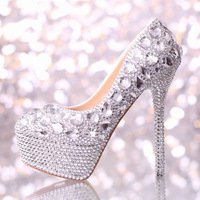 Handmade crystal wedding shoes high heel platform rhinestone shoes bridal shoes performance shoes white women Pumps decoration