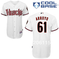 Free Shipping Arizona Diamondbacks #61 Bronson Arroyo On-Field Cool Base Stitched Jersey White Men's Authentic Baseball Jerseys