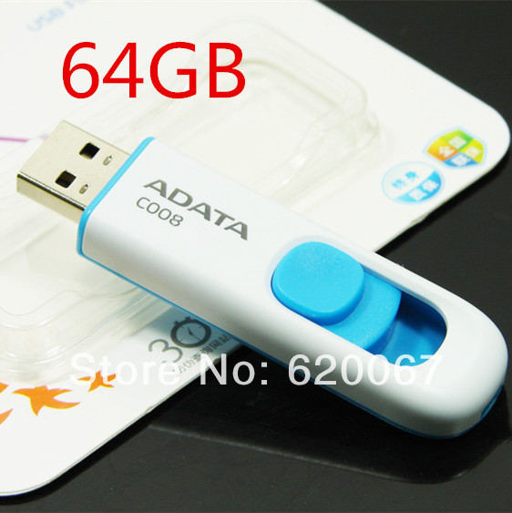 100% Original Adata 64gb usb flash drive high speed 2.0 pen drive thumb 64g usb2.0 pendrive memory stick free shipping(China (Mainland))