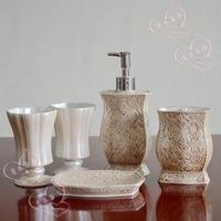 Resin bathroom set of five pieces nordic style vintage bathroom decoration bathroom supplies wedding gift