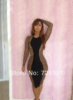 Hot! 2014 autumn sexy Bandage dress Women Fashion party Bodycon dresses lady leopard patchwork evening dresses clubwear bodysuit