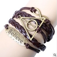 Min Order $10(mix items)Free Shipping!Fashion Jewelry Vintage 8 characte Triangle Letters Multilayer Leather Bracelet D132