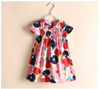Baby girl dresses Children big flower ball gown Kids cotton dress  Kid garment 2-8Y 6 pieces/lot Wholesale Free shipping