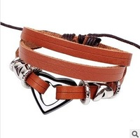 Min Order $10(mix items)Free Shipping!Retro Vintage Temperament  Heart Multilayer Leather Bracelet D144