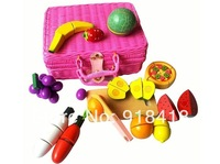 Free Shipping!!New Arrived Wholesale Mother Garden Wooden Toys Educational Cutting Fruit Set Wooden Play House