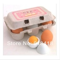 Free Shipping!!Funny Kitchen Wooden Toys Mother Garden Wooden Toys Emulational Eggs Play House 6pcs a set