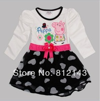 2014 new girl Long sleeve dress lace butterflies belt of the girls peppa pig cotton girl dress  Retail