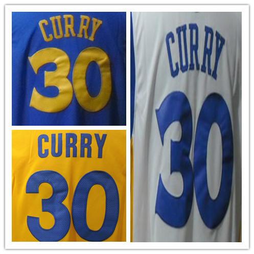 Adult #30 Stephen Curry White Blue Yellow Jerseys Men'S Basketball Jerseys American Sports Jerseys Size S/44-56/XXXL Mixed Order(China (Mainland))