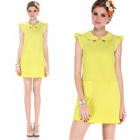 Womens Beading Peter Pan Collar Dress with Pocket 2014 New Fashion Summer Butterfly Sleeve Yellow Dresses for Women
