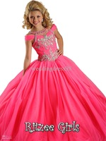 Precious Back Cut Out Jeweled Accent Tulle Ball Gowns Ritzee Little Girls Pink Pageant Dress