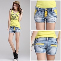2014 New Spring Clothing Korean Fashion Colorblock Slim All Match Women Denim Jean Shorts Casual Summer Hot Shorts Single Button
