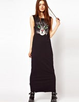 Fashion normic full dress one-piece dress cat print long design sleeveless tank dress casual long skirt one-piece dress