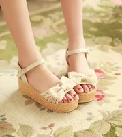 The new 2014 fair maiden han edition bowknot large base platform sandals