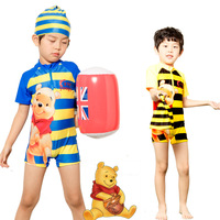 2014new Sunscreen children swimsuit swimming surfer swimwear Cartoon bear male baby boy one-piece swimsuit with swimming cap