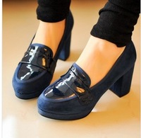 The new spring 2014 coarse documentary shoes pure color stitching round head waterproof shoes high heels