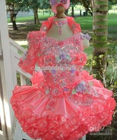 Cute Little Girls Cupcake Pageant Halter Organza Flower Girl Dresses