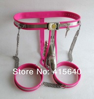 3 color New locks Stlye Male Fully Adjustable T-type stainless steel chastity belt + anal plug + catheter + Thigh Penis Rings
