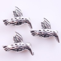 36pcs/lot Vintage Antique Silver Plated Carved Animal Fly Bird Spacer Beads Alloy Fit Crafts Jewelry Marking 113087