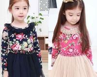 Vestidos Infantis Limited Kidsdress Girl Dress 2014 Spring Kid's Female Child 100% Cotton Flower Clothing Tulle Dress One-piece