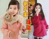2014 Sale Wool Coat for Girls Winter Girls Clothing Hot-selling Female Child Fur Collar Woolen Overcoat Wadded Jacket Outerwear