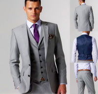 2014 High quality Light gray Groom Tuxedos Groomsmen Best Man Men Wedding Suits Prom/Formal/Bridegroom Suit (Jacket+Pants+Vest+T