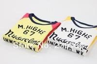 Free Shipping 2014 Spring / Autumn Kids Long Sleeve T-Shirt Words Kids Bottoming T-shirt Cotton Children Tops Tees K2014021