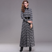 Runway show 2014 spring turn-down collar  dress vintage slim elegant long-sleeve lace full dress