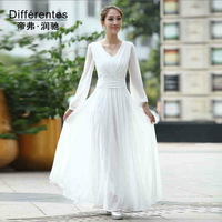 2014 spring  dress long V-neck fairy design white chiffon full dress formal dress women's chiffon  dress