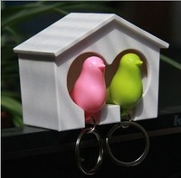 personalized couple  sparrow key chain with birds nest whistle sparrow keychain