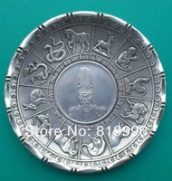 Exquisite Chinese 12 Zodiac And Dragon Coin Silver Bowls Zhong Hua Min Guo 16 Years Coin Plate