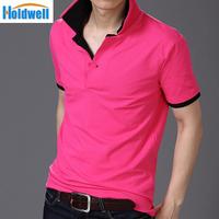 Freeshipping collar lapel Wireless  Mens T Shirt men's short Sleeve t shirt slim
