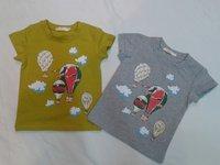 New's brand chirdren ,gril's O-neck short sleeve shirt,fashion children's gray orange  color cotton t-shirt