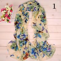 2014 New Wholesale Free Shipping Women scarf Ladies Butterfly Fashion  pashmina scarf chiffon High Quality