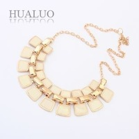2014 New Fashion Golden Chain Multilayer Sweet Beige Imitation Gemstone Charm Pendants Necklace For Women N1564