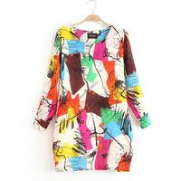 2014 High Quality European Style Fashion Women Dresse Printed Lantern Sleeve Casual Plus Size XXXL Dresses SX11844