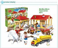 learning & education Banbao Happy Farm series 8571 Stable 338pcs Building Block Set Children Bricks Toy Lego compatible