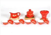 Commercial 2014 fashion new arrival 12 set red golden dragon kung fu tea