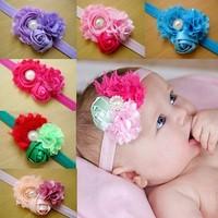 Free Shipping Fashion diamond pearl Baby Headband colorful Flower HairBand rose Headwear Baby Gift accessory