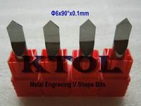 5pc 6mm 90 Degree 0.1mm Tip Metal Carbide Engraving Tool in CNC, V Shape Cutters,Milling Bits Set on Fine Carving Cu, Al, Steel