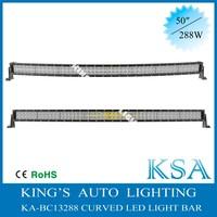 New Arrival ! 288w cree 4x4 curve led light bar 50 inch waterproof ip67 4x4 curved led light bar , bending light bar