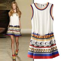 2014 spring and summer fashion royal wind animal print one-piece dress sleeveless tank dress