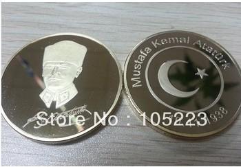 DHL Free Shipping Mustafa Kemal Ataturk Turkiye Gold Plated Round Coin 100pcs/lot(China (Mainland))
