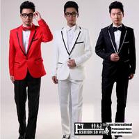 2014 New evening pure men's dress wedding show party show prom dresses 3 Color Size: M-XL