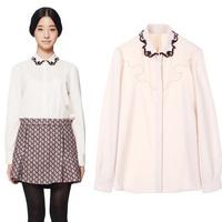Fashion spring new arrival turn-down collar long-sleeve medium-long laciness solid color chiffon basic shirt female