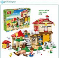 learning & education Banbao Happy Farm series 8572 Stable 390pcs Building Block Set Children Bricks Toy Lego compatible