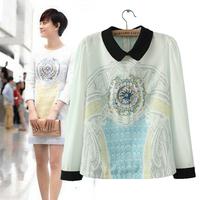 2014 summer fashion star embroidery print long-sleeve shirt chiffon shirt female