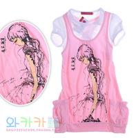 Big Girl Long Design T-Shirt Female Children Summer Top Girl 2014 Clothing
